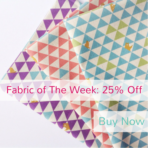 25% off Purple Triangle Bears, Coral Triangle Bears & Blue Triangle Bears from the Trefle collection by Kokka, Fabric of The Week 14/08/17