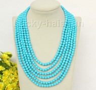 "17""-22"" 6row 6mm round turquoise bead gemstone necklace magnet clasp j10004"