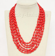 "16""-21"" 6row 5X8mm olivary red coral necklace magnet clasp j9775"