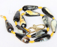 "16"" 10*25mm faceted drip yellow black agate necklace j9747"