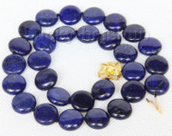 """natural 17"""" 14mm wafer coin lapis lazuli necklace gold plated clasp j9737"""