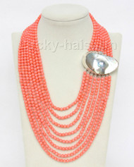 "AAA 16""-23"" 8row round pink coral beads necklace 925s mabe pearl clasp j9607"