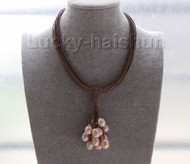 """16"""" 15row 14mm pink-purple pearls coffee leather necklace magnet clasp j9561"""