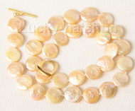"""16"""" 12mm natural coin fastener pink pearls necklace filled gold clasp j9497"""