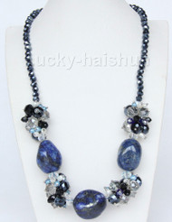 "19"" baroque twist lapis lazuli stones pearls crystal necklace j9379"