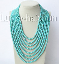 "17""-24"" 6mm round turquoise bead gemstone necklace 925 silver clasp j9203"