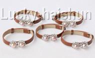 5piece adjustable khaki leather round purple pearls bracelet j9003A12F14