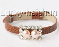 5piece adjustable coffee leather 9mm round pink pearls bracelet j8997A12F16