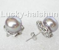 13mm purple pearls zircon Earrings Platinum Plated Stud j8890