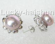 13mm purple pearls zircon Earrings Platinum Plated Stud j8884