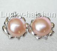 13mm pink pearls zircon Earrings Platinum Plated Stud j8883