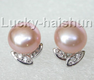 12mm leaf-shaped pink pearls Earrings Platinum Plated j8880
