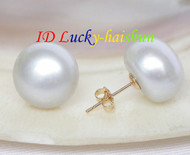 13mm Stud white have a little gray metallic luster pearls Earrings 14KT post j8777