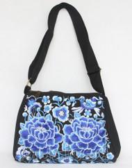 "11X8"" black Denim embroider blue flower handbag bag purses T895A90"