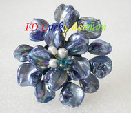 "3"" baroque Flower blue seashell white pearls crystal Brooch j8579"