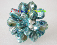 "3"" baroque Flower sky blue seashell white pearls crystal Brooch j8574"