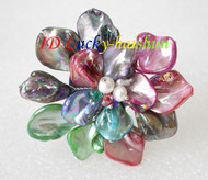 "3"" baroque Flower Multicolor seashell white pearls crystal Brooch j8573"