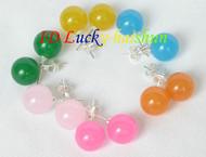 10mm 6piece MIX yellow green blue pink jade earrings 925sc Stud j8397