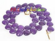 12mm heart-shape purple amethyst beads necklace j8301