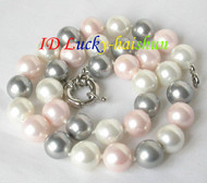 12mm round white pink Gray Multi-color south sea shell pearls necklace J8153