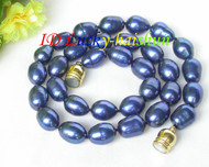 "12mm Genuine navy blue rice freshwater pearls necklace magnet clasp 16"" j7932"