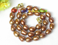 "12mm Genuine coffee rice freshwater pearls necklace magnet clasp 16"" j7929"
