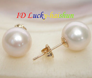 AAA Natural 10mm perfect round white pearls Earring 14K solid gold post j7777