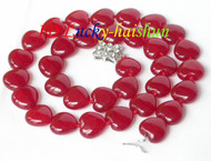 12mm heart-shape red jade beads necklace j7640
