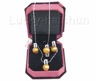 12mm coffee pearl necklace pendant Earring Rings 925sc set j7580