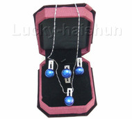 12mm blue pearl necklace pendant Earring Rings 925sc set j7579