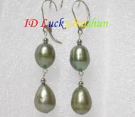 14mm drop green pearls dangle earrings 925ss hook j7161
