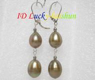 14mm drop champagne pearls dangle earrings 925ss hook j7159