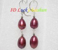 15mm drop wine red pearls dangle earrings 925ss hook j7158