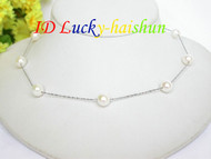 AAA 9mm round white pearls necklace 925sc Chain j6692