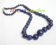 "AAA 19"" 16mm natural round Graduated lapis lazuli necklace j6551"