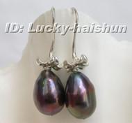 15mm dangle pear Black freshwater pearl earrings 925sc j6366
