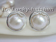 100% Genuine 19mm white South Sea Mabe Pearls Earring 925sc j6189