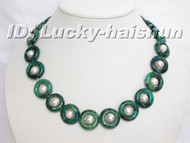 "17"" 20MM GREEN Chrysocolla WHITE PEARL NECKLACE j6167"