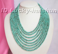 Genuine 8row natural round turquoise bead necklace 925sc clasp j5448