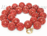 "AAA 18"" 16mm natural round carved red sponge coral necklace j5191"