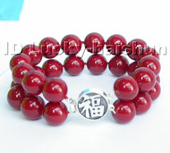 AAA 12mm 2row round red south sea shell pearls Bracelet 925sc j4577
