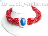 AAA 10Stds 100% natural red coral necklace lapis lazuli clasp j4116