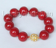 "8"" 16mm round red seashell pearls Bracelet magnet clasp j10416"