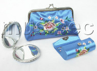 set sky blue colors Jewelry silk mirror bags pouches Boxes set T357A20