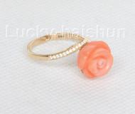 Genuine round 10mm carved rose pink coral Rings 14K solid gold 8# j10672