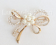 "2""X2"" bowknot snowflake white south sea shell pearls Brooch gold plated j10778"