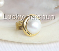 AAA natural 20mm blister white South Sea Mabe Pearls Rings silver filled gold 8# j11031