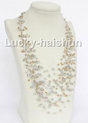 "17"" 18row Baroque Cream yellow crystal necklace j11035"