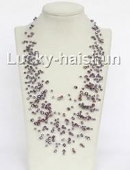 """17"""" 18row Baroque purple crystal necklace j11038"""