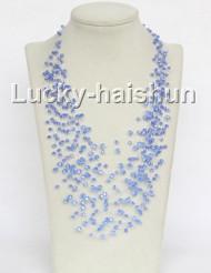 "17"" 18row Baroque blue crystal necklace j11042"